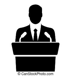 orator, vektor, tribune, talande, illustration