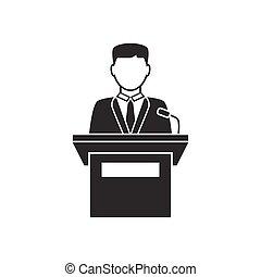 oratore, tribuna, parlante, icona