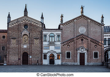 Oratory of Saint George, Scuola del Santo or Scoletta and the Archconfraternity of St Anthony of Padua, Gothic Chapel Facades in Padova, Italy