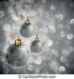orbes, cintilante, luzes natal, fundo, prata
