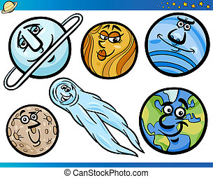 orbes, ensemble, caractères, planètes, dessin animé