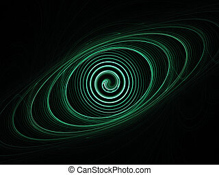 orbit and spiral rays on dark background