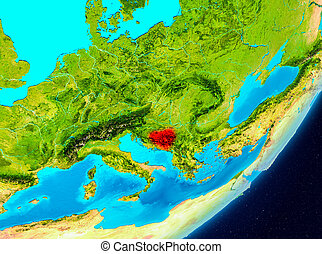 Orbit view of Bosnia and Herzegovina in red - Map of Bosnia...