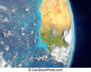 Orbit view of Gambia in red