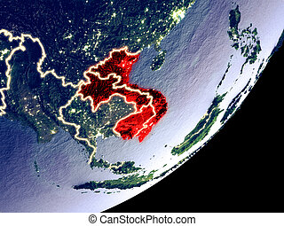 Orbit view of Indochina at night - Indochina from space on ...