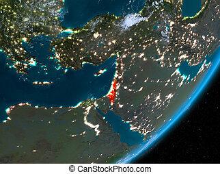 Orbit view of Israel at night