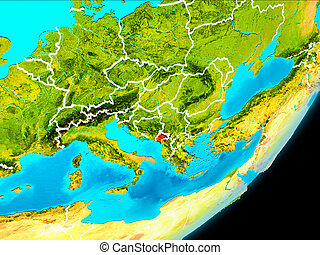 Orbit view of Montenegro - Map of Montenegro in red as seen...