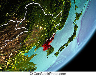 Orbit view of North Korea - North Korea in early morning ...