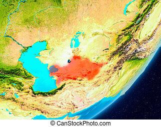 Orbit view of Turkmenistan in red