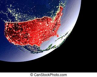 Orbit view of USA at night