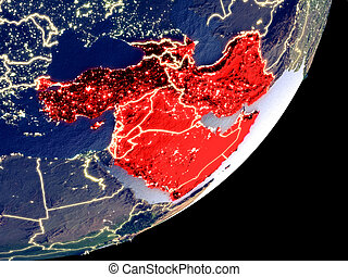 Western Asia from space on model of Earth at night. Very fine detail of the plastic planet surface and visible bright city lights. 3D illustration. Elements of this image furnished by NASA.