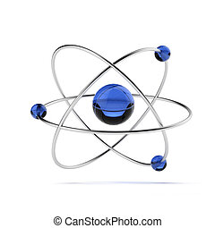 Orbital model of atom isolated on a white background