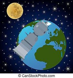 Orbital satellite station-1