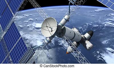 orbital, station, espace