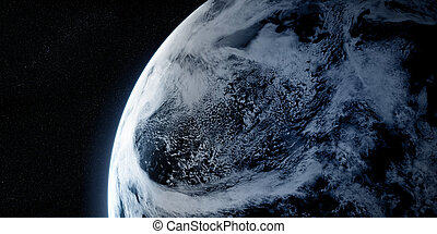 Orbital view on a planet from space