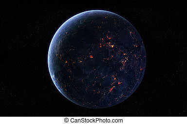 Orbital view on an extraterrestrial Earth-like planet with atmosphere