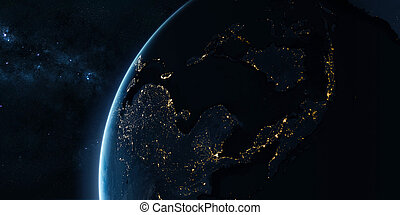Orbital view on Earth from space