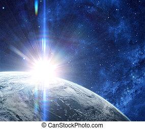 orbitale, pianeta, vista, spazio