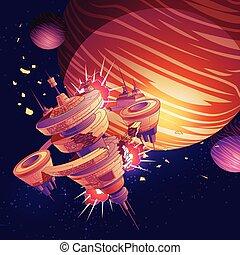 orbitale, vettore, abbattersi, astronave, stazione, futuro, o