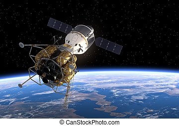 orbitare, interplanetario, stazione, earth., spazio