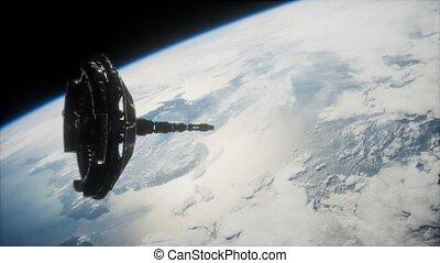 orbiter, futuriste, la terre, espacez satellite