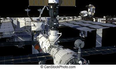 orbiter, la terre, espace, alpha, channel., international, station