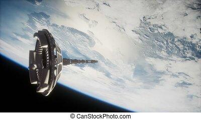 orbiter, la terre, futuriste, satellite, espace