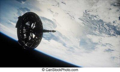 orbiter, la terre, satellite, futuriste, espace