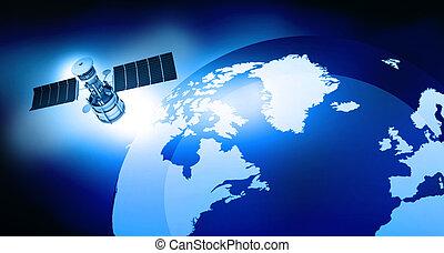 orbiter, la terre, satellite, render, 3d