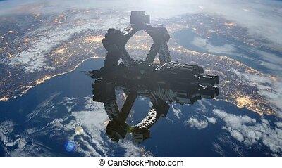 orbiter, la terre, station, espace