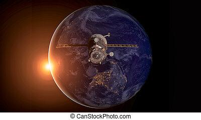 orbiter, progrès, vaisseau spatial, earth.