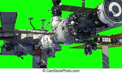 orbiter, screen., earth., espace, international, station, vert
