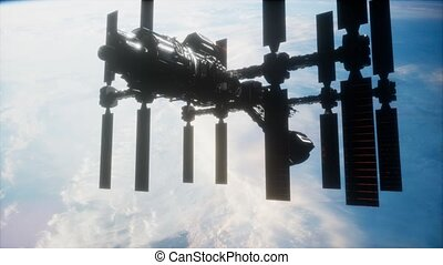 orbiter, spaceship., iss, vue, la terre