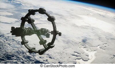orbiter, spaceship., vue, iss, la terre