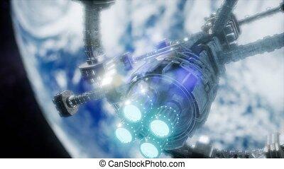 orbiter, vue, iss, spaceship., la terre