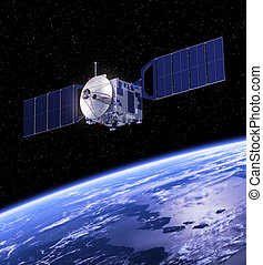 orbiting, aarde, satelliet