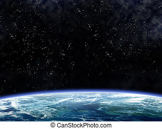 Orbiting the Earth - Illustration of a space scene looking...