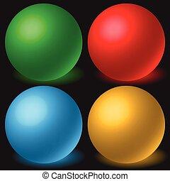orbs., set, bolen, gloeiend, ruimtelijk, 4, gelul, shadow., 3d