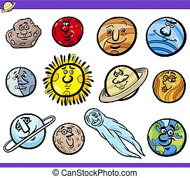 orbs, set, karakters, planeet, spotprent