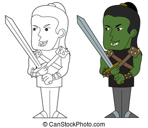 Orc fighter cartoon - Orcish warrior with a sword...
