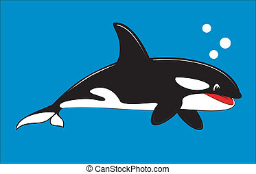 Orca, Cute Killer Whale - Vector illustration of cute animal...