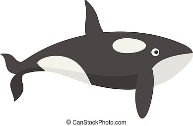 Orca whale icon, flat style