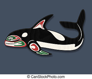 Orca Whale Totem - a stylized traditional Native American...