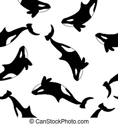 Orcas on white background seamless pattern. Vector illustration
