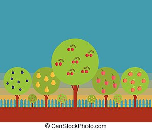 Orchard. Fruit trees against the blue sky. Stylization.