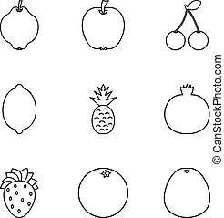 Orchard fruits icons set, outline style
