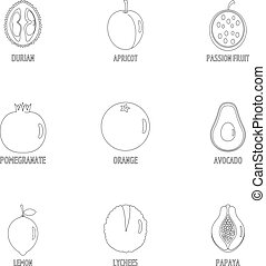 Orchard tree icons set, outline style