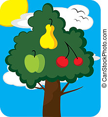 Orchard tree - Illustration of a different fruits on tree