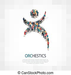 Isometric set of styles, orchestics , web infographics concept illustration of a crowded square, flat 3d. Crowd point group forming a predetermined shape. Creative people. - Vector Illustration. Stock vector.