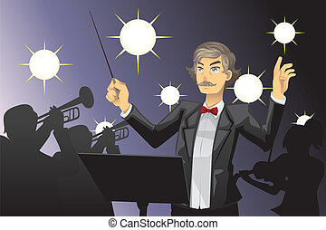 Orchestra conductor - A vector illustration of an orchestra...